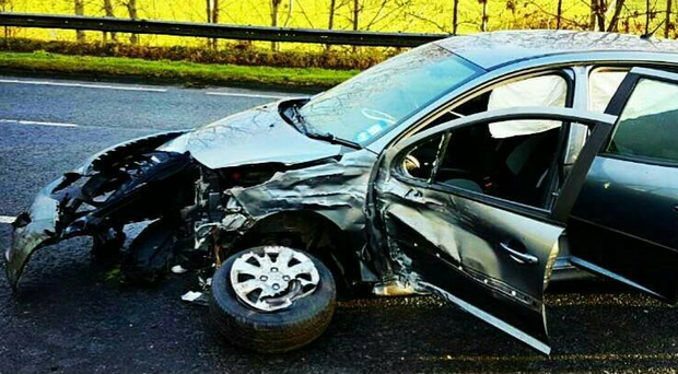 One of the vehicles involved in a collision on the A26 near Ballymena