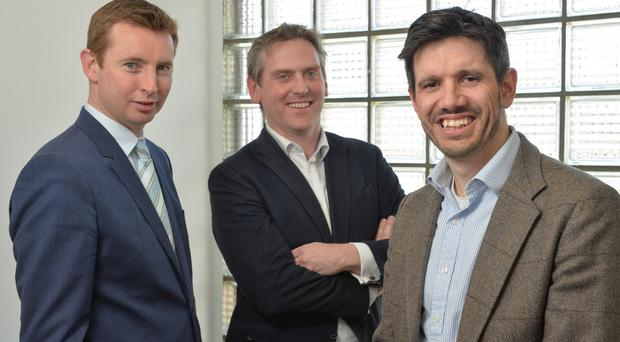 From left: John Dolan, managing director of Cardinal Capital Group, Paul McElvaney, chief executive of Learning Pool, and Jonathan Cosgrave, managing director of the Carlyle Group