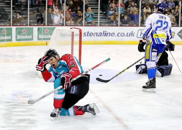I feel good: Two-goal David Rutherford after scoring against Coventry Blaze at the SSE Arena