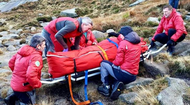 Mountain rescue in the Mournes after a man breaks his ankle