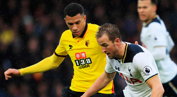 Stepping up: Harry Kane scored twice against Watford on Sundayand has Chelsea in his sights. Photo: Richard Heathcote/Getty Images