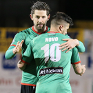 Net gains: Glens goalscorers Curtis Allen and Nacho Novo celebrate. Photo: David Maginnis/Pacemaker Press