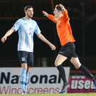 Orange crush: Glenavon's Greg Moorhouse celebrates after finding the back of the Ballymena United net last night. Photo: Matt Mackey/Press Eye