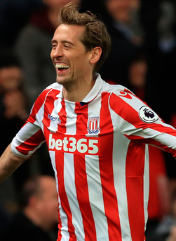 All smiles: Peter Crouch got his 98th Premier League goal