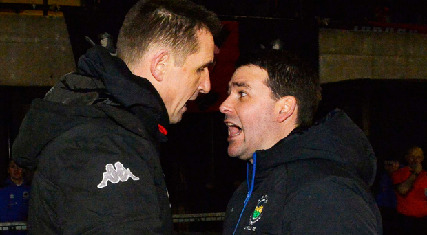 Reunited: David Healy and Stephen Baxter will met in Shield final