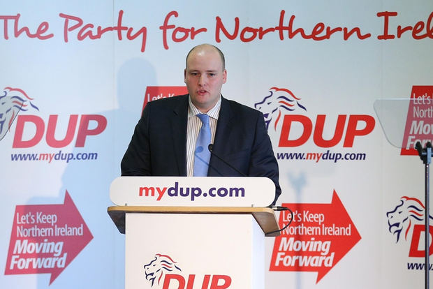David McIlveen addresses the DUP spring conference at the Killyhevlin Hotel in Enniskillen. Picture by Kelvin Boyes / Press Eye