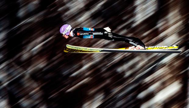 Andreas Wellinger of Germany soars through the air during the trial jump of the ski jumping event in Bischofshofen, which is the fourth station of the Four-Hills Ski Jumping tournament (Vierschanzentournee), on January 5, 2017. AFP/Getty Images