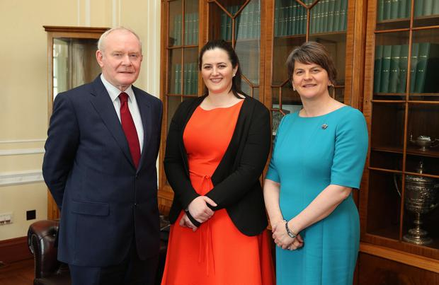 Happier times: First Minister Arlene Foster and deputy First Minister Martin McGuinness with Justice Minister Claire Sugden at Parliament Buildings, Stormont. Photo by Kelvin Boyes / Press Eye.