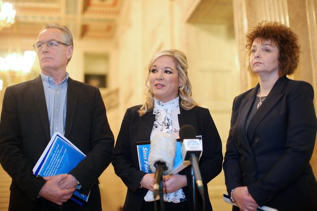 Gerry Kelly, Michelle O'Neill and Carl Ni Chuilin present the Sinn Fein plan on how the Renewable Heating Incentive should be investigated. Picture by Jonathan Porter/Press Eye