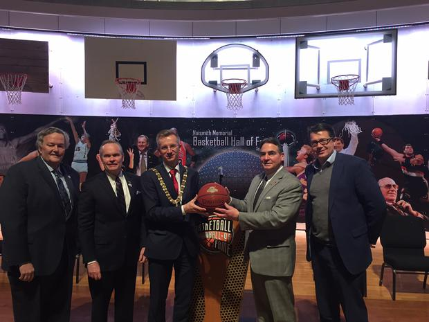 Rich Ensor (Commissioner, Metro Atlantic Athletic Conference), John Doleva (President and CEO, Basketball Hall of Fame) Belfast Lord Mayor Brian Kingston, Mayor Sarno (Springfield, Massachusetts) and Gareth Maguire (CEO, Sport Changes Life) at the Basketball Hall of Fame.