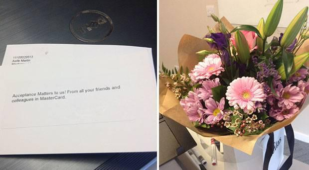 Letter and flowers Aoife received from her colleagues to welcome her back to the workplace