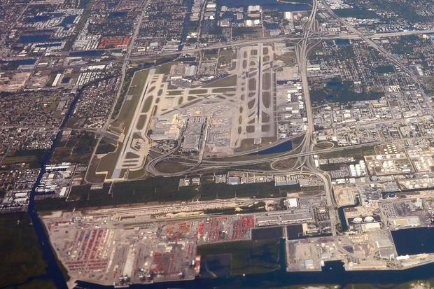 An aerial view taken of Fort Lauderdale-Hollywood airport in Florida. AFP/Getty Images