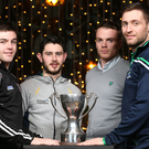 Cup kings: Patrick Mc Bride of St Mary's, Ryan McHugh of Donegal, Brendan McArdle of Down and Richard O'Callaghan of Fermanagh will all look to keep their hands on the McKenna Cup