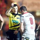 Scarlets v Ulster - Guinness PRO12 - Referee Marius Mitrea shows Sean Reidy of Ulster a yellow card before awarding Scarlets a penalty try. Friday 6th Jan 2017 Picture by Press Eye/ Ben Evans