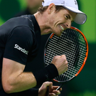 Make a racket: Andy Murray after victory over Tomas Berdych