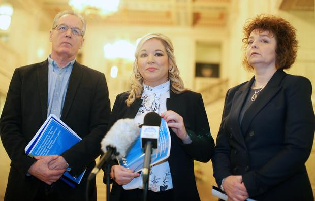 Sinn Fein hold a press conference at Parliament Buildings at Stormont in east Belfast to make public its proposed Terms of Reference for the Independent Panel Investigation of the Non Domestic Renewable Heat Incentive scheme. Left to right. Gerry Kelly, Michelle O'Neill and Carl N Chuiln. Picture by Jonathan Porter/Press Eye