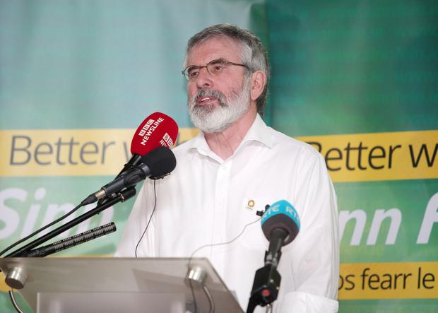 Sinn Fein president Gerry Adams addresses party members at the Felons Club in west Belfast. Picture by Jonathan Porter/Press Eye