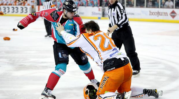 Belfast Giants' Adam Keefe with Sheffield Steelers' Zack Fitzgerald during Sundays Elite Ice Hockey League game at the SSE Arena, Belfast. Photo by William Cherry/Presseye
