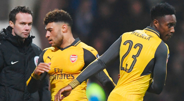 I'm back: Danny Welbeck replaces Alex Oxlade-Chamberlain for his first action in eight months