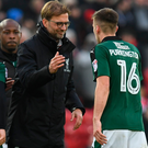 Well done: Jurgen Klopp congratulates Plymouth's players