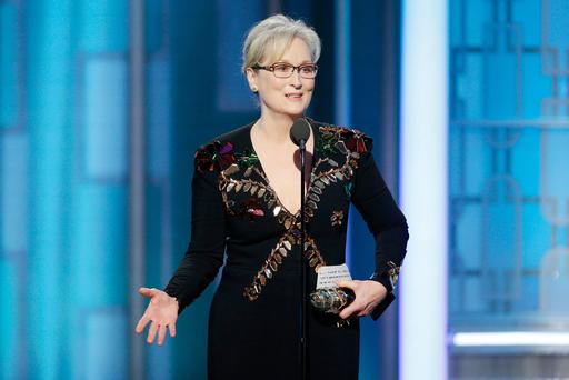 BEVERLY HILLS, CA - JANUARY 08: In this handout photo provided by NBCUniversal, Meryl Streep accepts Cecil B. DeMille Award during the 74th Annual Golden Globe Awards at The Beverly Hilton Hotel on January 8, 2017 in Beverly Hills, California. (Photo by Paul Drinkwater/NBCUniversal via Getty Images)