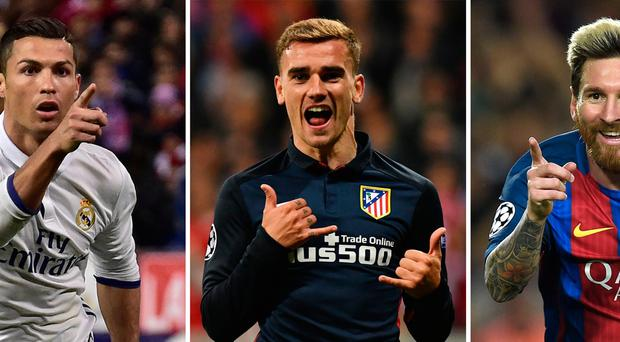 Cristiano Ronaldo, Lionel Messi and Antoine Griezmann in race to be crowned the world's best. Pic AFP PHOTOLLUIS GENE,LUKAS BARTH,GERARD JULIEN/AFP/Getty Images