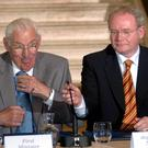 Pacemaker Press International Belfast 16/7/2007. First and Deputy First Minister Ian Paisley and Martin McGuinness pictured today at Stormont at the first British Irish Council meeting 2007 . Picture Charles McQuillan/Pacemaker. 4/3/08 The DUP leader has announced that he will step down as First Minister and and leader of the Democratic Unionist Party in May.