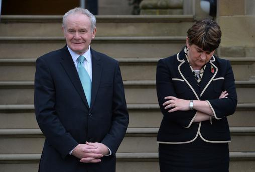 Former Deputy First Minister Martin McGuinness, pictured with Arlene Foster