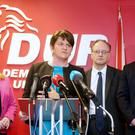 DUP leader Arlene Foster, along with her party colleagues, holds a press conference at DUP headquarters in east Belfast. Picture by Jonathan Porter/Press Eye
