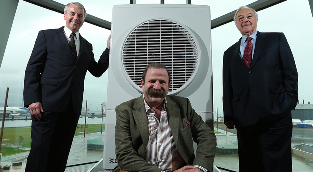 From left: Neil Naughton, deputy chairman of the Glen Dimplex Group, TV presenter Dick Strawbridge and Martin Naughton, founder of the Glen Dimplex Group, at the launch of one of their products in 2013