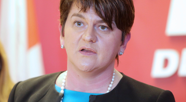 DUP leader Arlene Foster speaking at a press conference at DUP headquarters