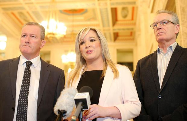 Sinn Fein's Conor Murphy, Michelle O'Neill and Gerry Kelly at Stormont following their meeting with the Secretary of State for Northern Ireland James Brokenshire (Picture by Jonathan Porter/Press Eye)
