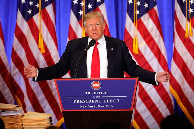 President-elect Donald Trump speaks at a news cenference at Trump Tower on January 11, 2017 in New York City. This is Trump's first official news conference since the November elections. (Photo by Spencer Platt/Getty Images)