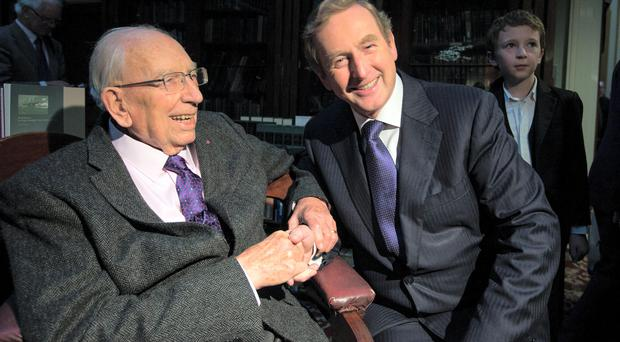 Taoiseach Enda Kenny with TK Whitaker at the Royal Irish Academy in Dublin in 2014