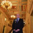 The Irish Foreign Affairs Minister pictured at Stormont in Belfast as efforts to find a solution to the political impasse intensify. Charlie Flanagan was holding talks with the Secretary of State James Brokenshire. Picture By: Arthur Allison. Pacemaker Press Belfast 12-01-2017