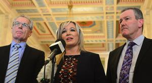Sinn Fein hold a press conference in the Great Hall at Stormont the crisis. Pictured Right-Left Sinn Fein's Conor Murphy, Michelle O'Neill and Gerry Kelly. Picture By: Arthur Allison Pacemaker Press Belfast 12-01-2017