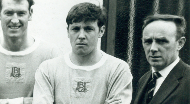 Norman Clarke (centre) during his second spell with home town club Ballymena United