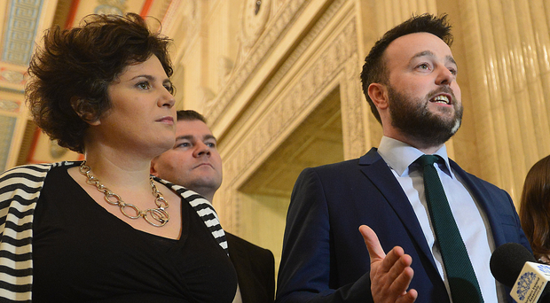 Colum Eastwood with party colleague Claire Hanna at Stormont