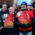 Irish language activists outside the Department for Communities in Belfast yesterday