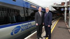 Pictured is Paul McGrattan, Information Services & Technology Manager, Translink (left) with Brian McCormick, Account Director at BT Business in Northern Ireland.