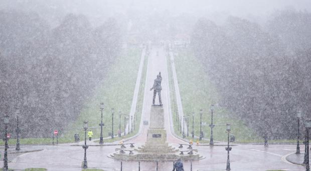 Snow begins to fall on the Stormont Estate in east Belfast. Picture by Jonathan Porter/Press Eye