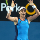 Top woman: Britain's Johanna Konta celebrates defeating Agnieszka Radwanska of Poland in the women's singles final at the Sydney International