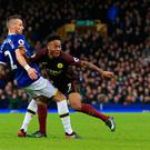Everton's Morgan Schneiderlin (left) and Manchester City's Raheem Sterling battle for the ball during the Premier League match at Goodison Park, Liverpool. PRESS ASSOCIATION Photo. Picture date: Sunday January 15, 2017. See PA story SOCCER Everton. Photo credit should read: Peter Byrne/PA Wire. RESTRICTIONS: EDITORIAL USE ONLY No use with unauthorised audio, video, data, fixture lists, club/league logos or