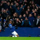 Everton's Ademola Lookman celebrates scoring his side's fourth goal during the Premier League match at Goodison Park, Liverpool. PRESS ASSOCIATION Photo.