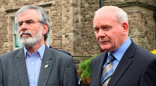 Clinging to power: Gerry Adams and Martin McGuinness. Photo: Lesley Anne McKeown/PA Wire