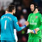 Cech mate: The keepers shake hands at the Liberty Stadium
