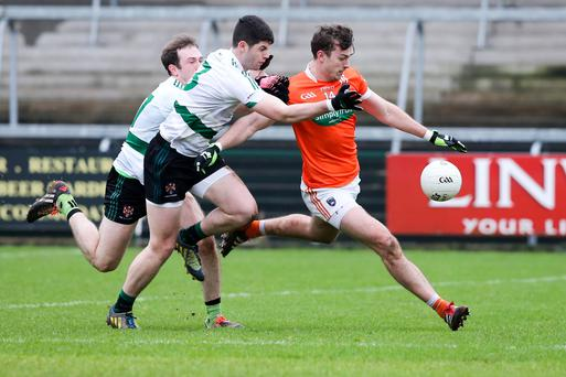 Key role: Aidan Forker wielded a huge influence both in defence and attack for Armagh in yesterday's handsome win over Queen's University
