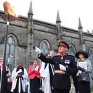 Viscount Brookeborough, Her Majesty's Lord Lieutenant for County Fermanagh, accompanied by Enniskillen clergy and First Minister Arlene Foster lights the Queen's 90th Birthday Beacon outside the front of Saint Macartin's Cathedral. Picture by Andrew Paton/Press Eye.com