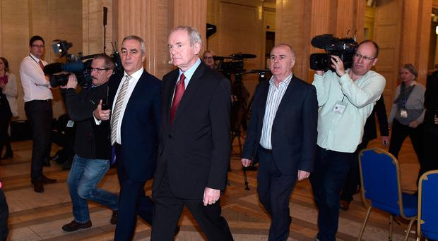Former Deputy Northern Ireland First Minister Martin McGuinness walks through the Great Hall at Stormont after failing to nominate a candidate for the role of Deputy First Minister on January 16, 2017 in Belfast, Northern Ireland.