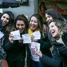 Tamara Thaise, Sabrini Resende, Luz Pereira with Michelle Franca and Cintia Marcomini from Brasil after they got their U2 Tickets in Stephen's Green Shopping center.